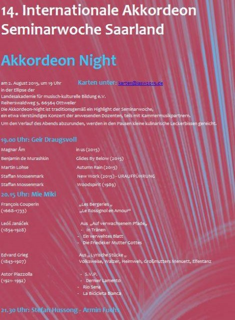 'Accordion Night' Concert poster