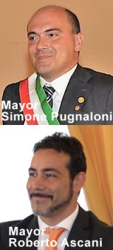 Mayors Simone Pugnaloni and Roberto Ascani