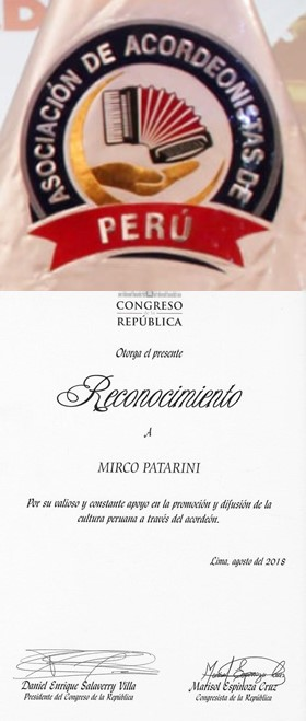 Logo and Certificate of Recognition Awarded to Mirco Patarini