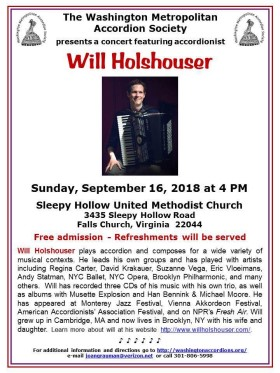 Poster Will Holshouser performs for WMAS