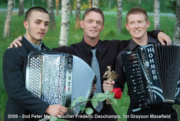 Petar Maric (Serbia), teacher Frédéric Deschamps, Grayson Masefield (New Zealand)