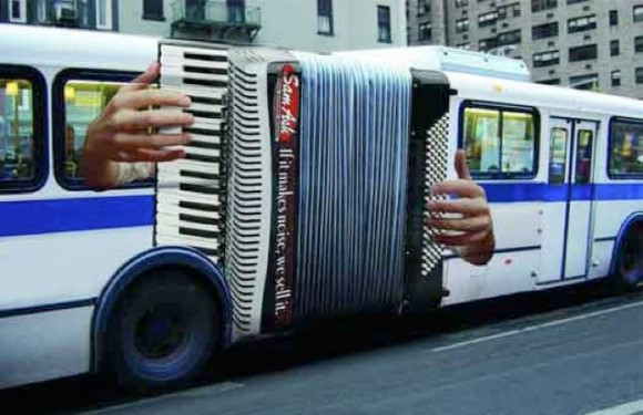 Sam Ash Music Advertisement Accordion Bus