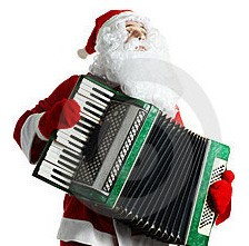 Santa Claus playing accordion